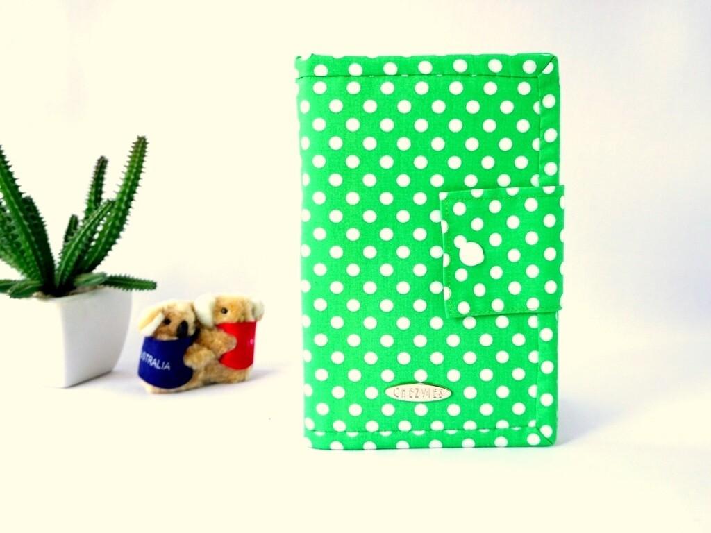 Green Polkadot Handmade Family Travel Wallet
