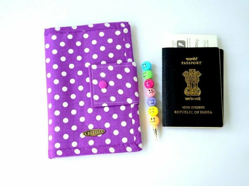Purple Polkadot Handmade Family Travel Wallet