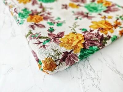 Brown Floral Print Burlap Jute Fabric