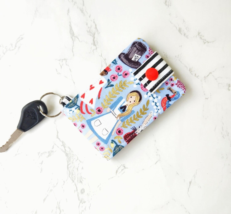 Handcrafted Blue fabric  ID card wallet - Wonderland
