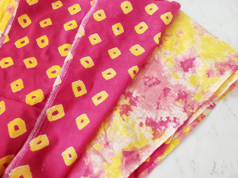 Yellow Rani Pink Dual Print Tie Dye Cotton Fabric