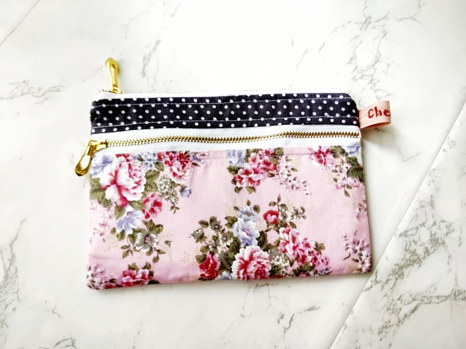 Pink floral double zip bag small