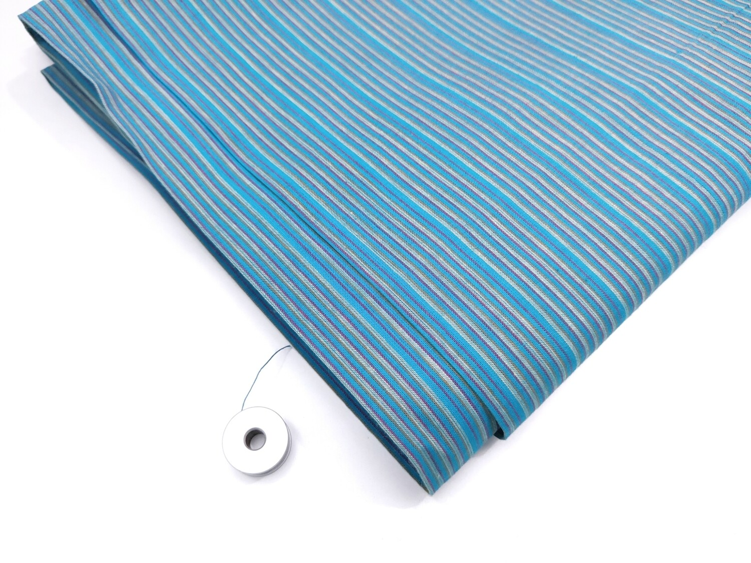 Blue Striped cotton handloom, shot cotton fabric, sold by half yard