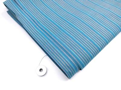 Blue Striped cotton handloom, shot cotton fabric, sold by half yard