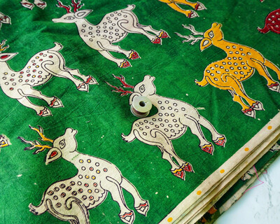 Deer Print Block Print  Kalamkari Cotton Fabric - Bottle Green