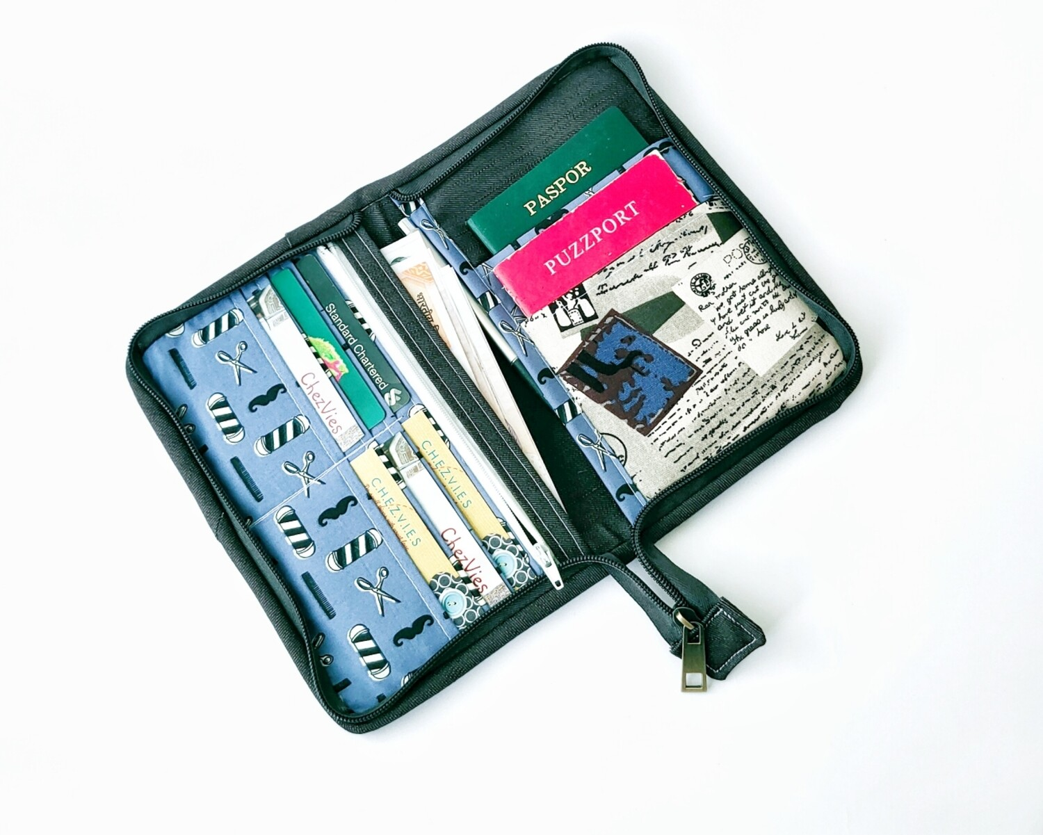 Vintage Print Zip Around Travel Wallet