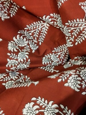 Big Floral Block Print Fabric, Brown Lightweight Cotton, Sold by Half Meter