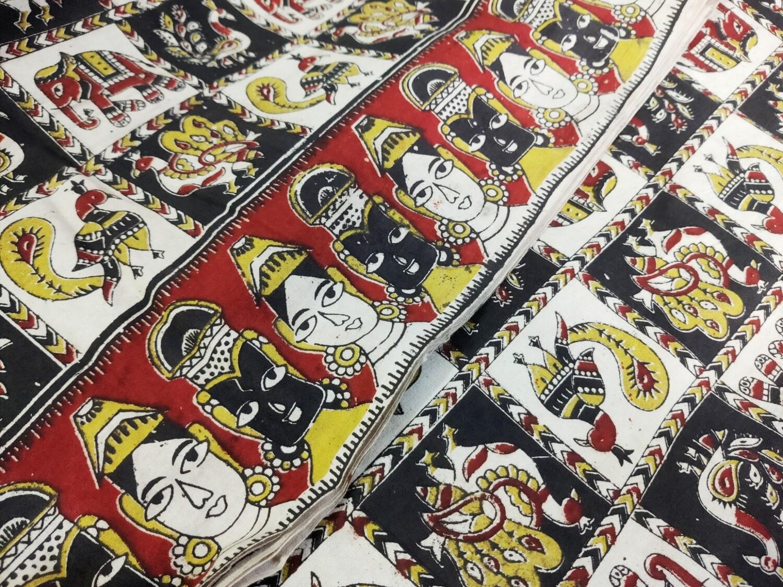 Kalamkari Fabric Indian  Dancer Print - block printed mud cloth sewing material