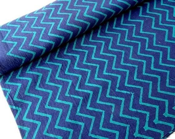 Indigo Blue ZigZag Chevron Block Print Fabric - Sold by Half Meter