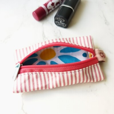 Pink Stripe Mini Zipper Pouch - 2.5