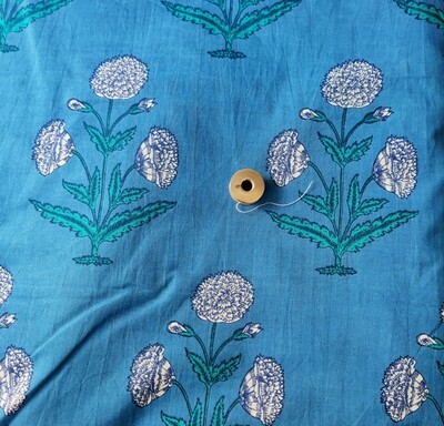 Marigold block print cotton fabric - 44 inch wide - sold by half meter