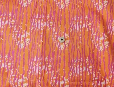Orange Stripe Flower Block Print, 44 Inch Wide, Solf by Half Meter