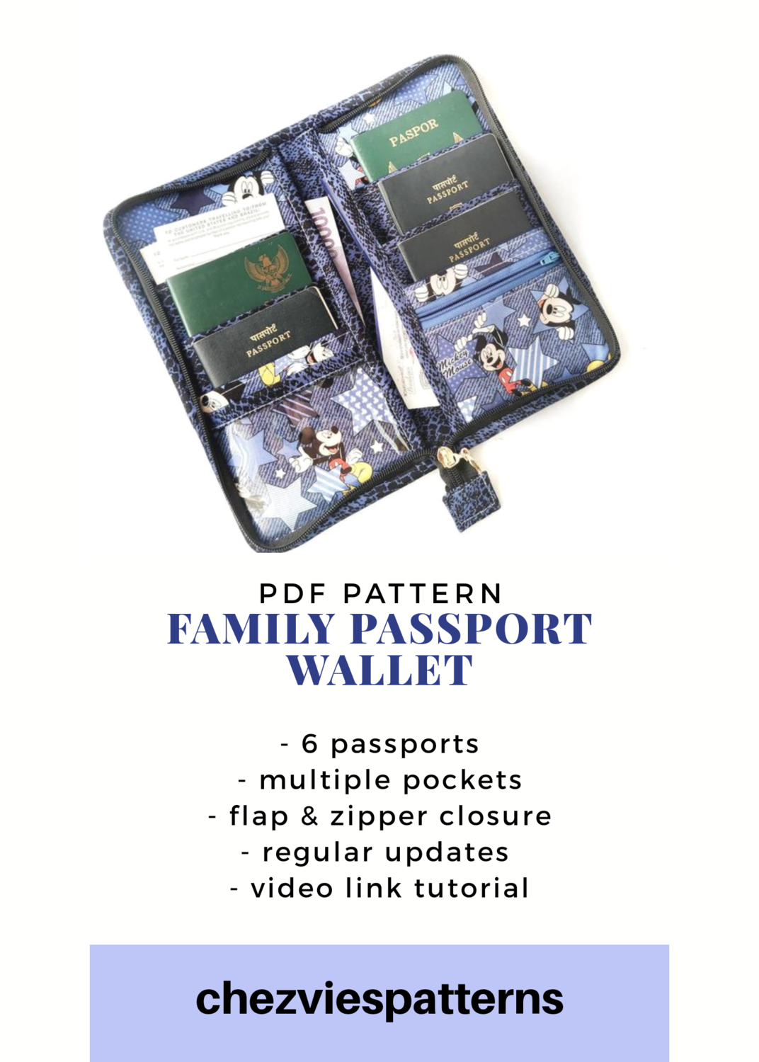 PdF Sewing Pattern- Family Passport Wallet