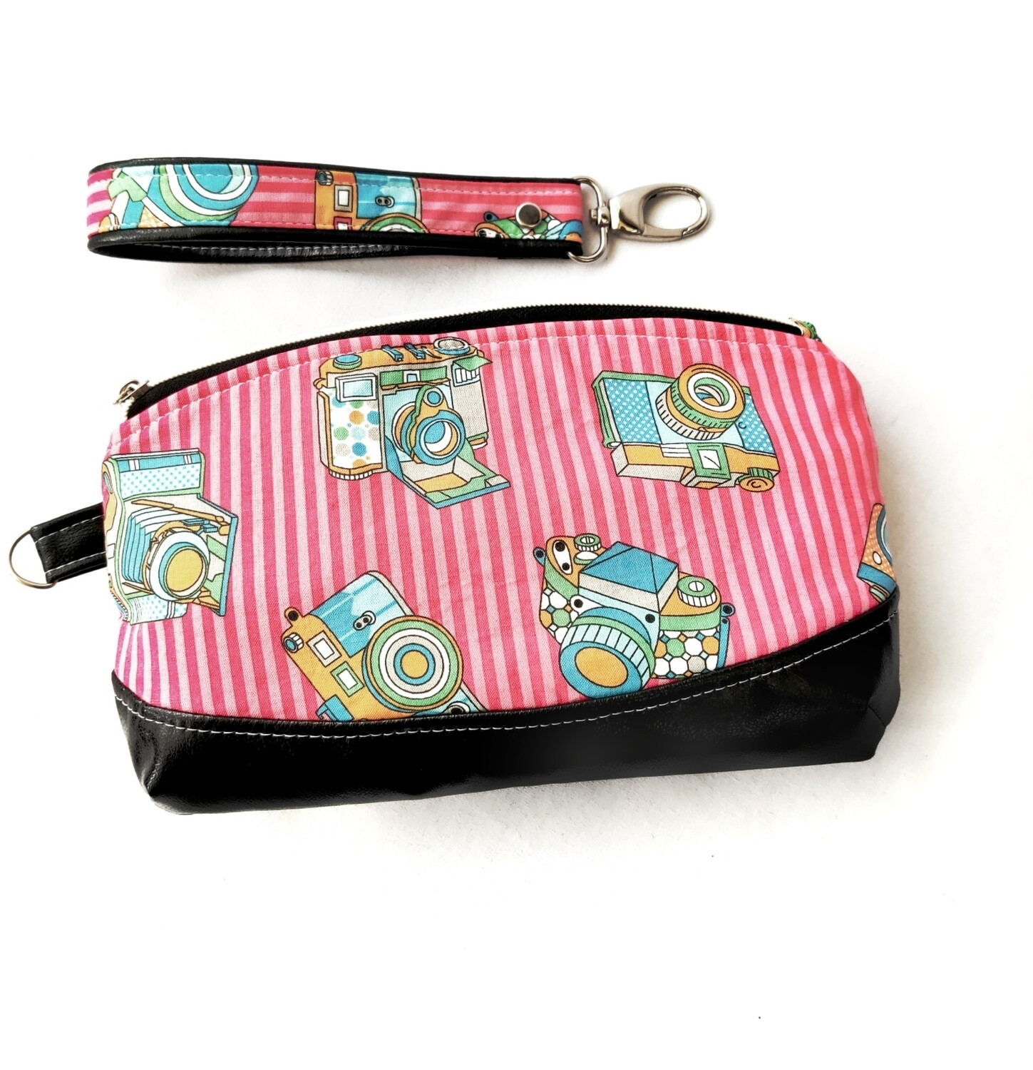 Clematis Wristlet - Large  - Pink and Black - Ready to Ship