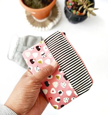 Mini Cute Zipper Pouch with Tissue Holder - Sushi Print