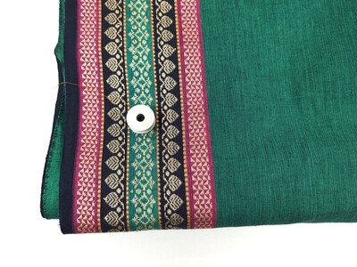 Teal green handloom cotton fabric eith border, 44 Inches wide, sold by half meter