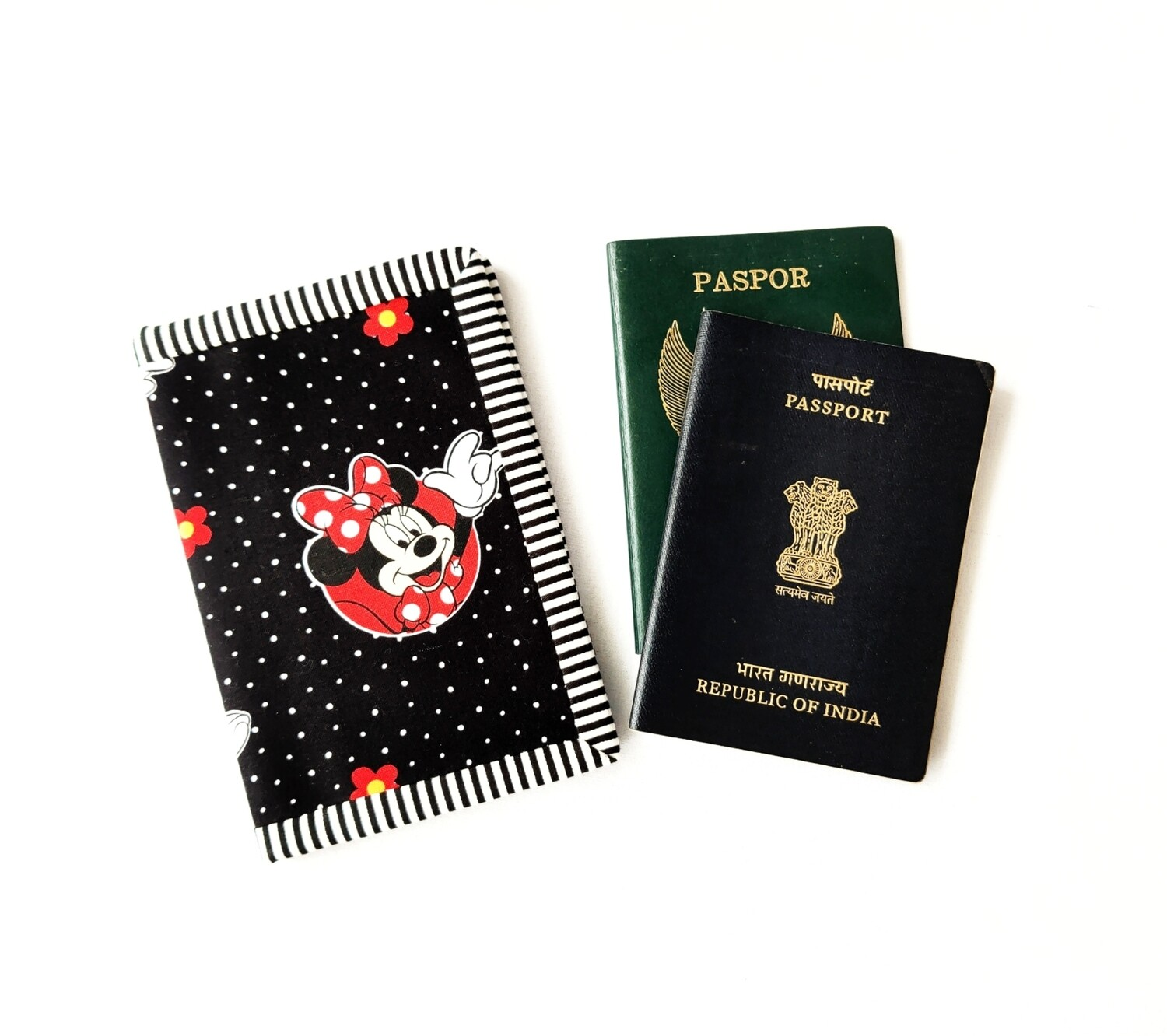 Cute Passport Wallet - Minnie Mouse Print Black and Red