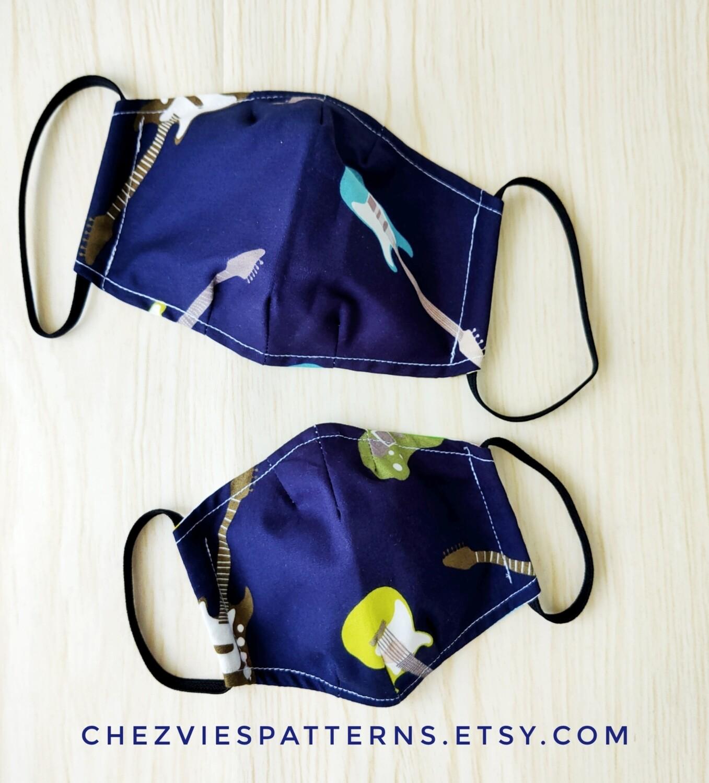Famili Pack Reusable Guitar Print   Cloth Mask - set of 4