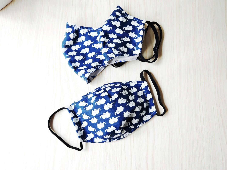 Blue Elephant Washable Reusable Cloth Mask With Filter Pocket  - set of 3 - Pre Order