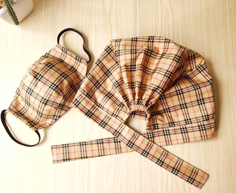 Handmade Scrub Hat and Mask Set