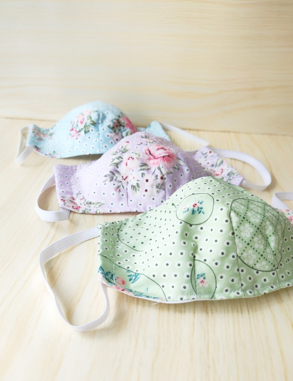 Floral Series Cloth Mask With Filter Pocket  - set of 3 - Pre Order