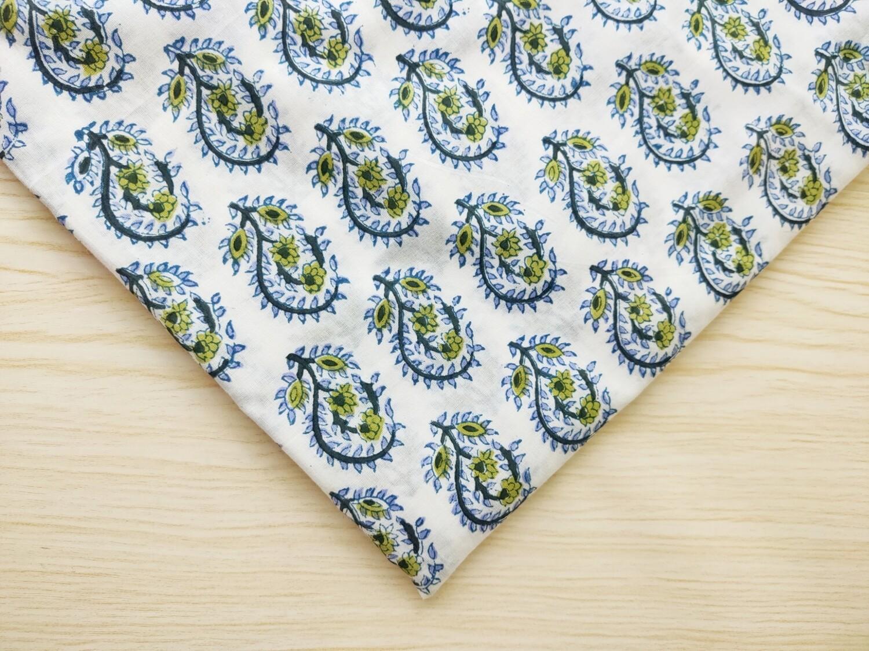 Blue Paisley Flower Block Print Fabric - Sold by Half Meter