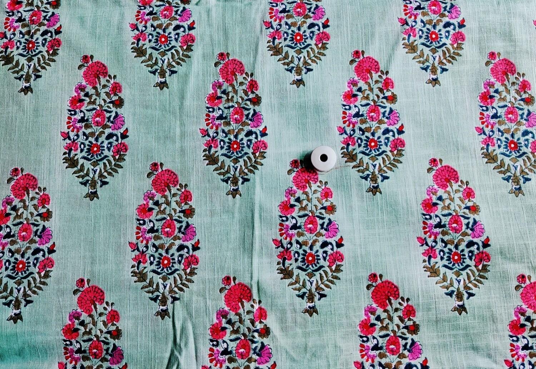 Mint Green Floral Slub Linen Fabric - 44 inch wide