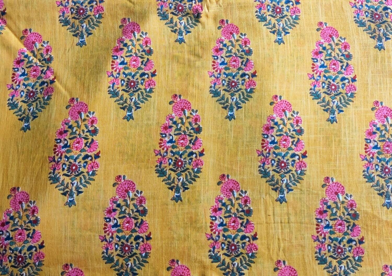 Yellow Floral Slub Linen Fabric - 44 inch wide