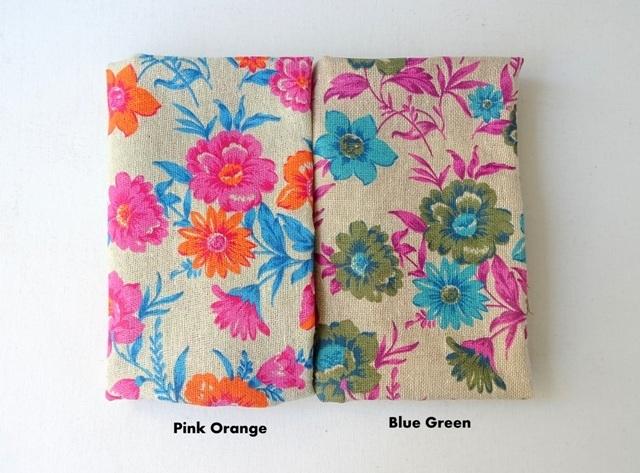 Flower print Jute - printed burlap - available in 2 colors