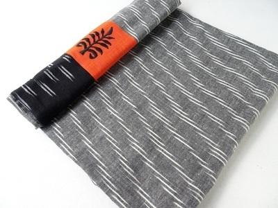 Grey Handloom Ikat with orange embroidered border