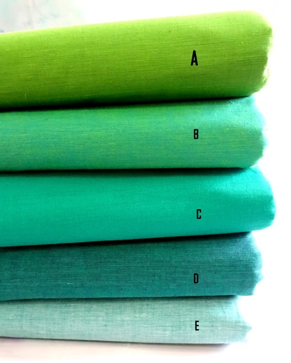 Shade of Green Handloom - hand woven cotton - shotcotton fabric