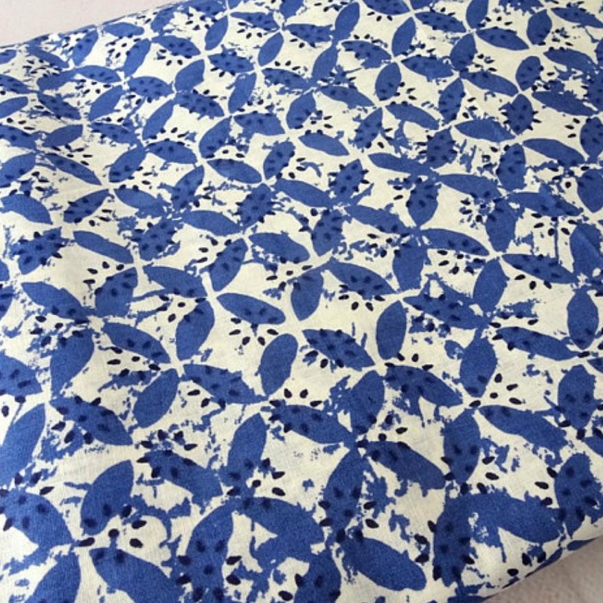 indigo white cotton fabric dress material