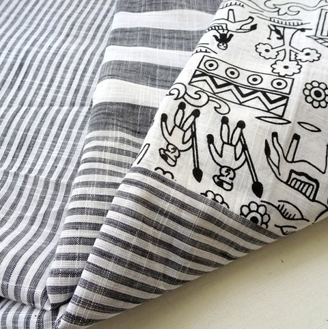 Grey Striped Warli Handloom dress material