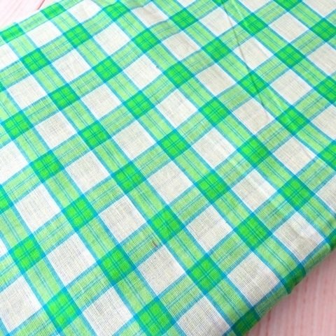 Shot cotton fabric, check cotton fabric, handwoven indian cotton fabric, green gingham, half yard