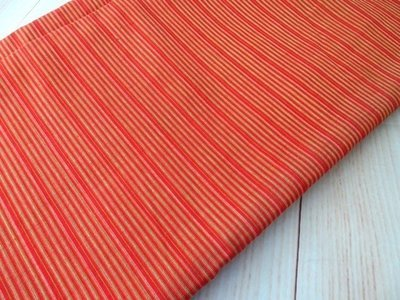 Orange Striped shot cotton woven fabric , DIY Craft, Sewing, Apparel, pumpkin orange small stripe Indian cotton fabric, half yard