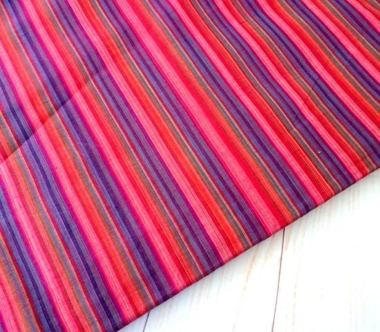 Striped woven cotton fabric stripes shot cotton DIY Craft Sewing Apparel small stripes Indian cotton fabric, half yard in Pink Purple