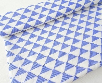 Blue and white Triangle print cotton dress material