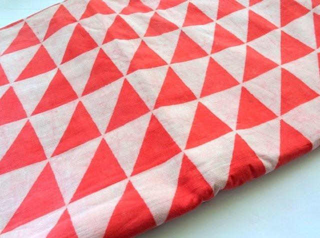 Mud cloth fabric natural dye dusty white and orange triangle hand block print Indian cotton fabric daboo cotton half yard