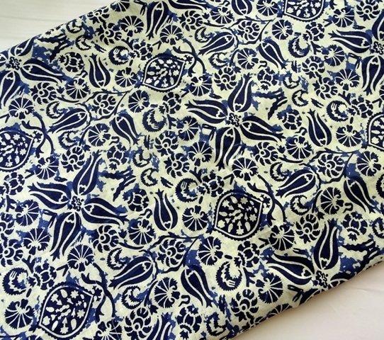 Indigo Blue and Off white Block Printed  fabric