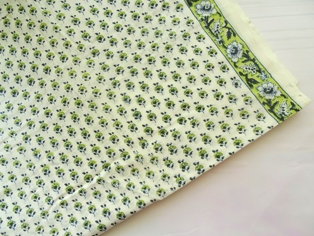 Green small floral white based cotton dress material