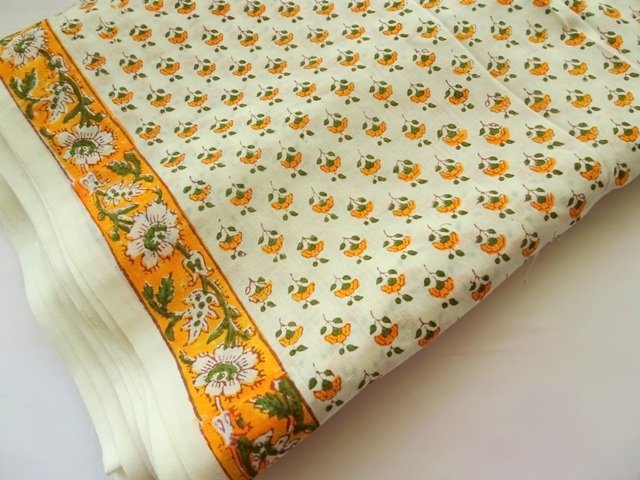 White Indian cotton fabric Yellow small floral, summer dress fabric, quilting, DIY sewing Craft, home decor, bag making, half yard