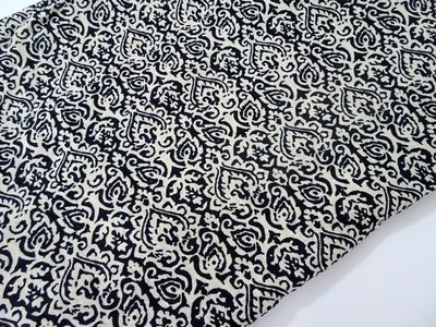 Black and White Block Print Linen Dress Material