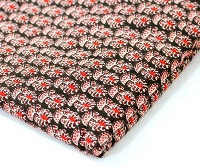 Red Floral  Block Print Linen