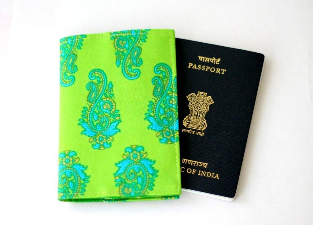 Green Passport Cover - Handmade Passport Holder