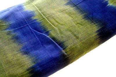 Handloom Ikat Dress Material in Olive green and blue