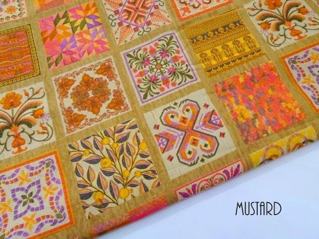 Orange Patchwork Print Cotton Fabric Dress Material