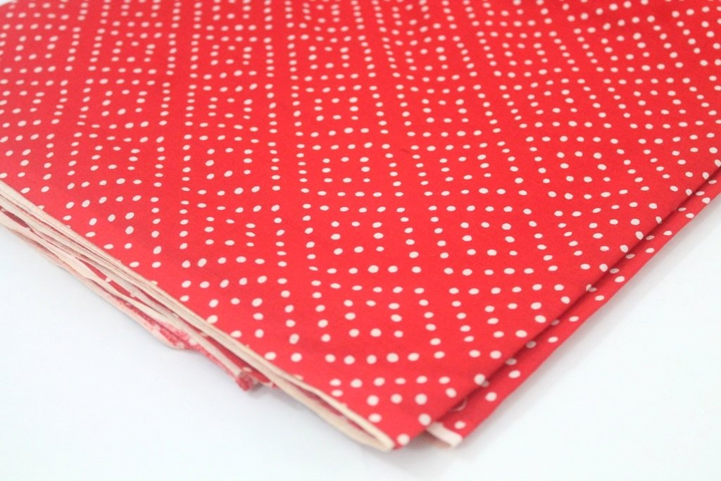 Red and White Polkadot Mulmul Dress Material Cotton Fabric