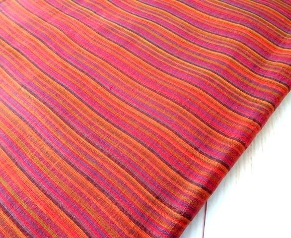 Stripe Brick Color Handloom Dress Material