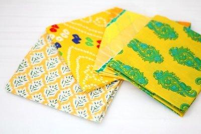 Yellow fat Quarter Bundle of 4