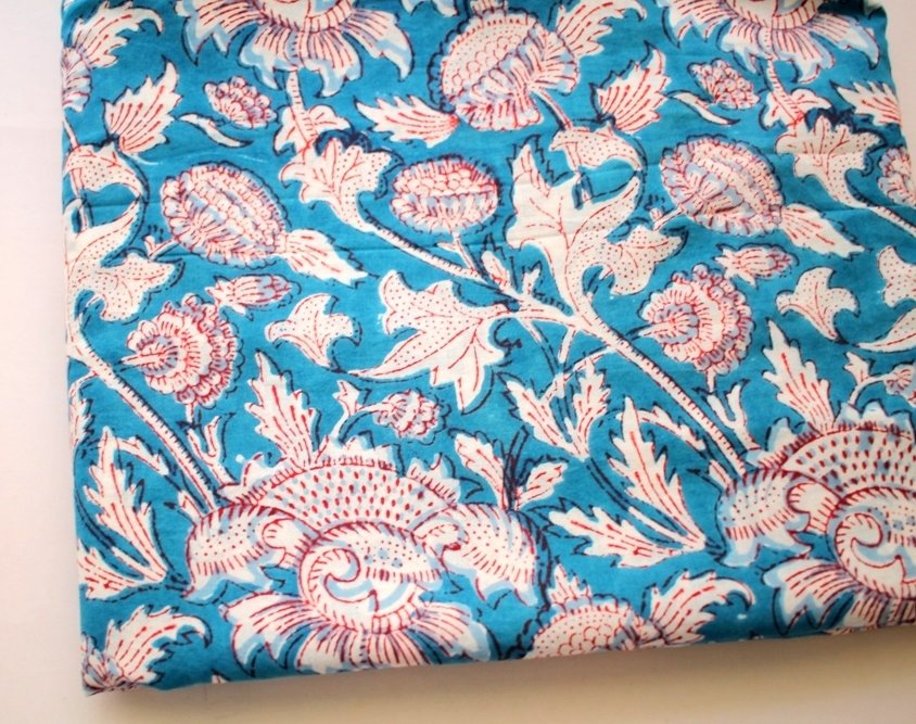 Blue floral cotton fabric dress material